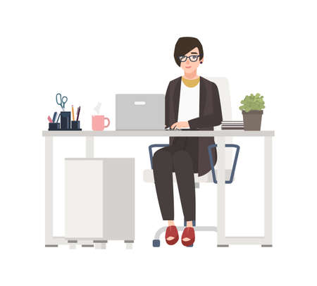 Smiling woman working at office. Female clerk dressed in smart clothes sitting in chair at desk with computer. Funny cartoon character isolated on white background. Vector illustration in flat style
