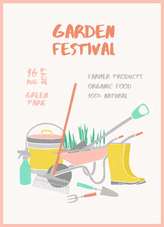 Creative vertical flyer or poster template with gardening tools and place for text for garden festival, farmer market, agricultural fair. Colorful vector illustration for event promo, advertisement Illustration