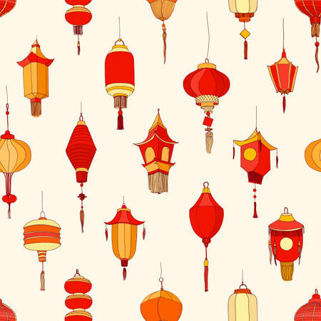 Seamless pattern with Chinese street lanterns on light background. Backdrop with beautiful oriental holiday decorations. Colorful realistic vector illustration for textile print, wrapping paper