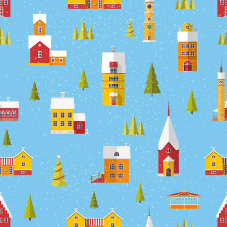 Seamless pattern with cute buildings and trees decorated for Christmas or New Year celebration in snowfall. Colorful vector illustration in flat style for textile print, wrapping paper, backdrop. Stock Photo