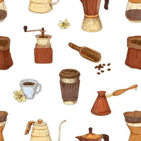 Seamless pattern with tools and utensils for coffee making and drinking - moka pot, turkish cezve, coffee pot, grinder, paper cup on white background. Elegant vector illustration for textile print.