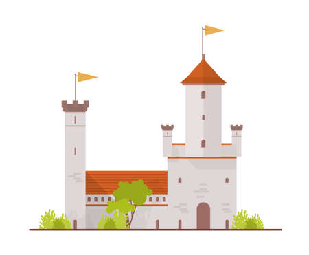 Medieval fortress, fairytale castle, citadel with towers and gate isolated on white background. Exterior of royal residence or ancient historical building. Flat cartoon colorful vector illustration. Illustration