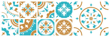 Collection of decorative square tiles with various traditional oriental patterns. Bundle of Portugal Azulejo ornaments in blue, brown and white colors. Vector illustration in elegant antique style