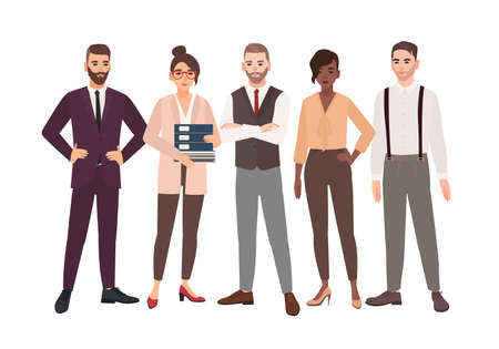 Group of office employees standing together. Team of smiling male and female professionals or colleagues. Cartoon characters isolated on white background. Colorful vector illustration in flat style  イラスト・ベクター素材