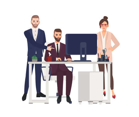 Male managers working on computer at office, making corrections in project, angry female worker or boss standing beside. Cartoon characters isolated on white background. Flat vector illustration