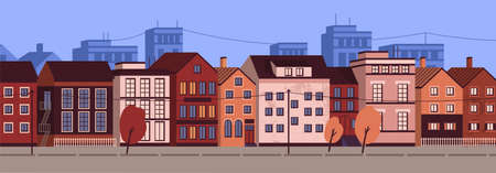 Horizontal urban landscape or cityscape with facades of residential buildings. Street view of district with modern living houses and trees. Colorful vector illustration in flat cartoon style. Ilustrace