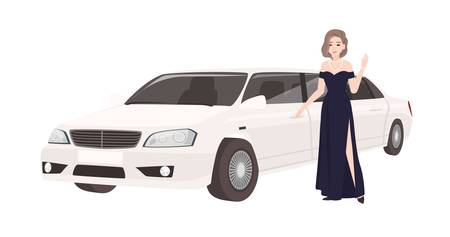 Woman in elegant evening dress standing beside luxury limousine. Female celebrity and her luxurious car or automobile isolated on white background. Colorful vector illustration in flat cartoon style