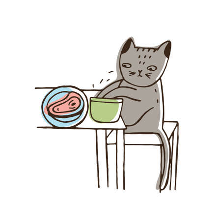 Adorable cat stealing food from plate lying on table and eating it. Funny naughty kitty isolated on white background. Problematic behavior of domestic animal. Colorful hand drawn vector illustration