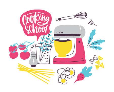 Modèle de bannière avec batterie de cuisine ou ustensiles de cuisine pour la préparation des aliments. Illustration vectorielle colorée dans un style plat moderne pour l'école de cuisine, les cours de cuisine ou la publicité pour les leçons, la promotion