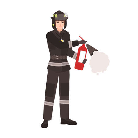 Firefighter, fireman or rescuer wearing fireproof protective uniform, helmet and holding fire extinguisher. Male cartoon character isolated on white background. Colorful flat vector illustration