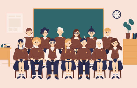 Class group portrait. Smiling girls and boys dressed in school uniform or pupils sitting in classroom against chalkboard on background and posing for photography. Flat cartoon vector illustration Çizim