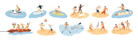 Set of people performing summer sports and leisure outdoor activities at beach, in sea or ocean - playing games, diving, surfing, riding water scooter. Colorful flat cartoon vector illustration