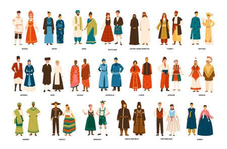 Colección de hombres y mujeres vestidos con trajes típicos de varios países aislados sobre fondo blanco. Conjunto de personas vestidas con ropa étnica. Ilustración de vector colorido en estilo de dibujos animados plana.