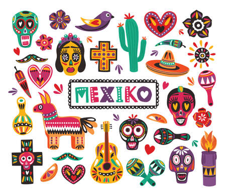Set of national Mexican symbols and traditional Day of The Dead decorations isolated on white background - calaveras, pepper, pinata, cactus, sombrero, maracas, guitar. Flat vector illustration.