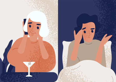 Woman drinking cocktail at bar and talking on mobile phone to man sitting in bed. Couple communicating through smartphone. Boyfriend worrying about his girlfriend. Flat colored vector illustration