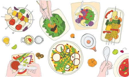 Cena vegetariana. Sabrosas comidas veganas en platos y manos de personas que las comen. Mesa con deliciosos platos vegetarianos o comida, vista superior. Ilustración de vector dibujado a mano colorido en estilo realista