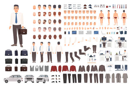 Elegant office worker or clerk creation set or DIY kit. Collection of body parts, stylish business clothes, faces, postures. Male cartoon character. Front, side, back views. Vector illustration Ilustracja