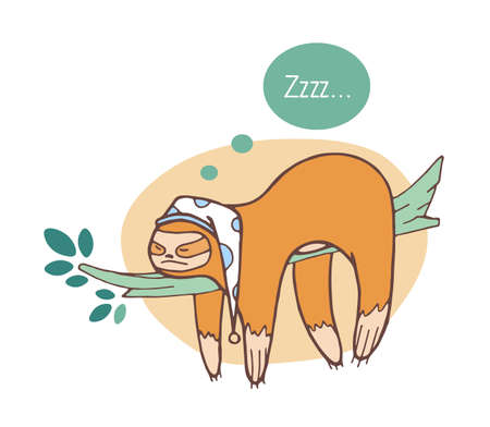 Adorable perezoso durmiendo en la rama. Perezoso animal salvaje de la selva tomando una siesta o dormitando en el árbol de la selva. Personaje de dibujos animados divertido aislado sobre fondo blanco. Ilustración de vector dibujado a mano de color Ilustración de vector