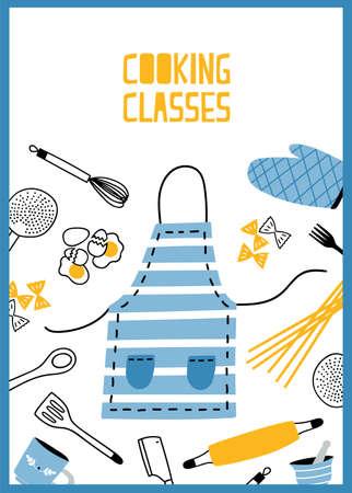Modèle de flyer ou d'affiche avec ustensiles de cuisine, outils et équipement pour la préparation des repas. Illustration vectorielle colorée dans un style plat pour l'école de cuisine, la publicité pour les cours ou les leçons, promo. Vecteurs