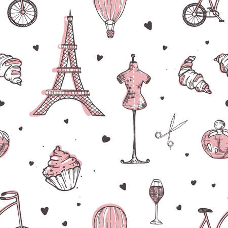 Hand drawn seamless pattern with Paris and France symbols - french perfume, bicycle, croissant, Eiffel Tower, mannequin, air balloon on white background. Vector illustration for wrapping paper Reklamní fotografie - 117296347