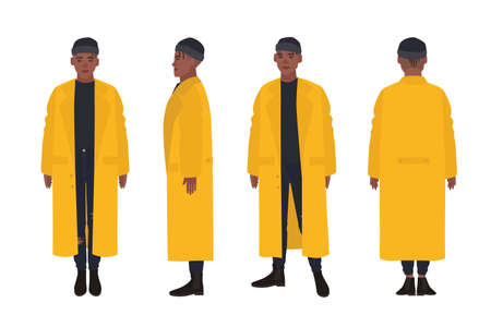 African American guy dressed in yellow raincoat. Young man in trendy coat, street style look. Male cartoon character isolated on white background. Front, side and back views. Flat vector illustration