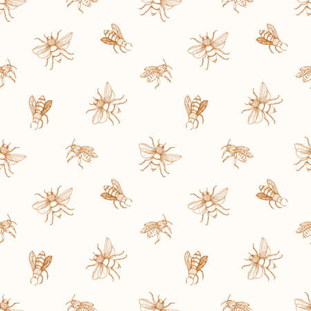 Seamless pattern with honey bees drawn with contour lines on light background. Apiculture or beekeeping backdrop. Monochrome vector illustration in elegant antique style for wrapping paper, wallpaper