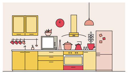 Trendy interior of kitchen full of modern furniture, household appliances, cookware, cooking facilities, tools, equipment and home decorations. Colorful vector illustration in modern line art style. Ilustração