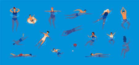 Colección de personas vestidas con traje de baño en piscina. Conjunto de hombres y mujeres en traje de baño realizando actividades acuáticas. Conjunto de nadadores. Ilustración de vector colorido en estilo de dibujos animados plana