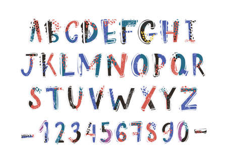 Creative latin font or english alphabet hand drawn on white background. Colorful textured letters arranged in alphabetical order and figures decorated with dots and stains. Vector illustration