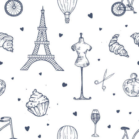 Hand drawn seamless pattern with Paris and France symbols - french perfume, bicycle, croissant, Eiffel Tower, mannequin, air balloon on white background. Vector illustration for wrapping paper
