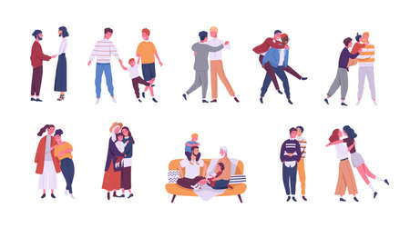 Collection of LGBT or queer couples and families with children. Bundle of male, female and romantic partners isolated on white background. Vector illustration in flat cartoon style.