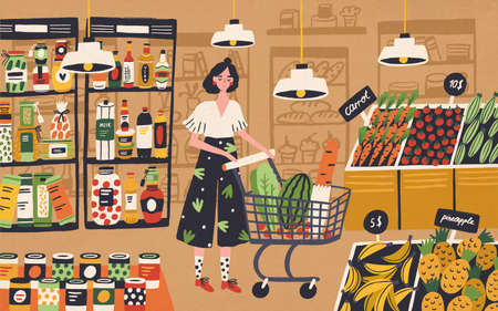 Cute young woman with shopping cart choosing and buying products at grocery store. Girl purchasing food at supermarket. Customer in retail shop. Colorful vector illustration in flat cartoon style Illustration