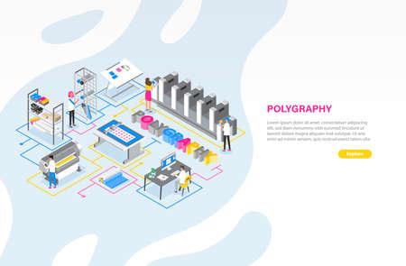 Modello di banner Web con tipografia o centro servizi di stampa con persone che lavorano con plotter, stampanti offset e altre attrezzature. Illustrazione vettoriale isometrica colorata moderna per la pubblicità