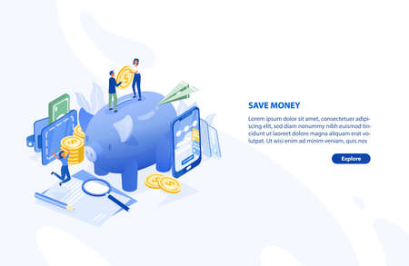 Web page or banner template with pair of people standing on giant piggy bank and holding coin, smartphone. Money saving and personal finance depositing. Modern colorful isometric vector illustration.