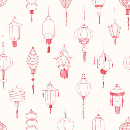 Monochrome seamless pattern with Chinese street lanterns hand drawn with contour lines on white background. Backdrop with traditional religious holiday decorations. Realistic vector illustration