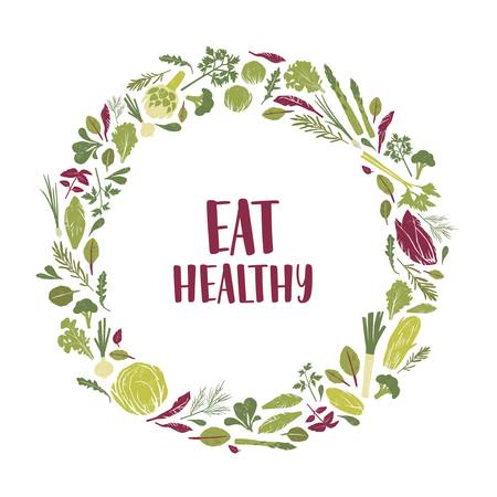 Wreath made of green plants, salad leaves, vegetables, herbs and Eat Healthy slogan inside. Decorative circular frame consisted of eco friendly organic products. Flat colorful vector illustration
