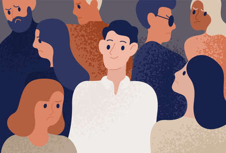 Happy and satisfied young man surrounded by depressed, unhappy, sad and angry people. Smiling person in crowd. Funny cheerful guy and society. Colorful vector illustration in flat cartoon style