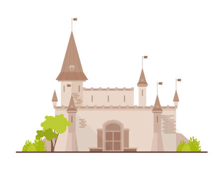 Romantic castle, fortress or stronghold with towers and gate isolated on white background. Facade of royal residence or medieval historical building. Flat cartoon colorful vector illustration.