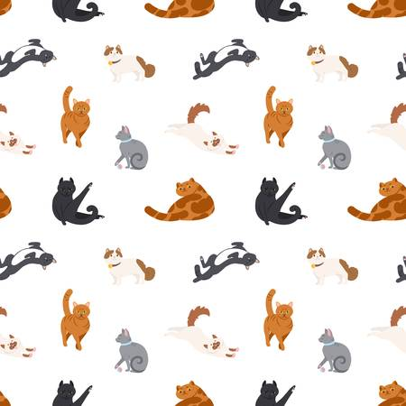 Colorful seamless pattern with cats of different breeds sleeping, walking, washing, stretching itself on white background.Vector illustration in flat cartoon style for wrapping paper, fabric print