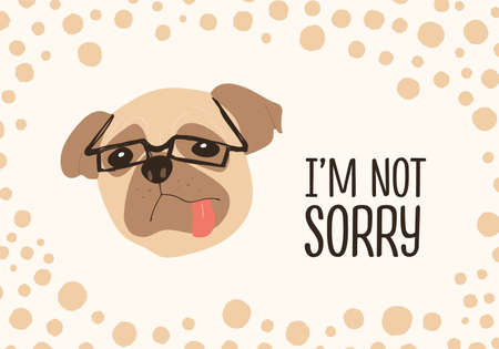 Face of funny dog wearing glasses and Im Not Sorry ironic phrase handwritten with elegant cursive font. Adorable doggy or puppy. Colored vector illustration for t-shirt or apparel print, postcard  イラスト・ベクター素材