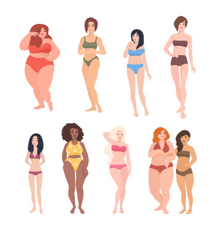 Collection of gorgeous women of different race, height and figure type dressed in swimwear. Cute female cartoon characters isolated on white background. Colorful vector illustration in flat style