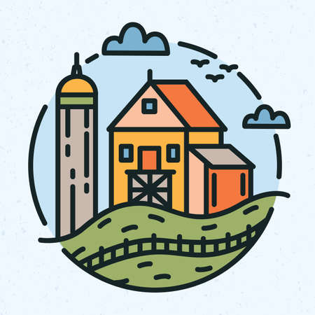 Modern circular logo with rural landscape and farm building or barn drawn in line art style. Round logotype with farmland isolated on light background. Creative colorful vector illustration. Ilustrace