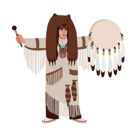 American Indian wearing bearskin and ethnic clothes beating his drum and calling spirits. Shaman priest or medicine man performing religious ceremony. Vector illustration in flat cartoon style