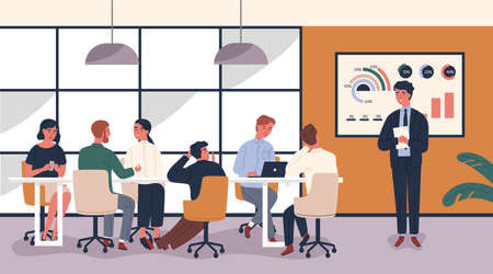 Man making boring and tedious presentation in front of people sitting at table. Lecturer giving dull lecture to audience demonstrating lack of interest. Vector illustration in modern flat style Ilustracja