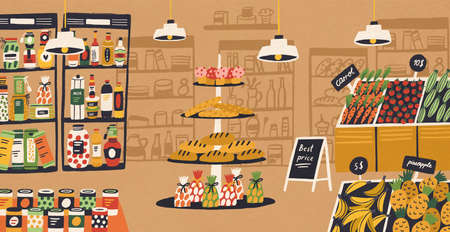 Interior of modern grocery store with products lying on shelves and price tags. Assortment of food at supermarket. Retail shop or indoor market. Colorful vector illustration in flat cartoon style Vetores