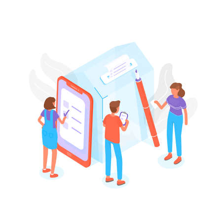Modern composition with people standing beside giant ballot box at polling station and voting or taking part in political election process. Trendy creative colorful isometric vector illustration.