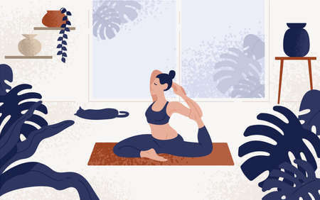 Young woman sitting in yoga posture and meditating. Girl performing aerobics exercise and morning meditation at home. Physical and spiritual practice. Vector illustration in flat cartoon style 스톡 콘텐츠 - 113219642