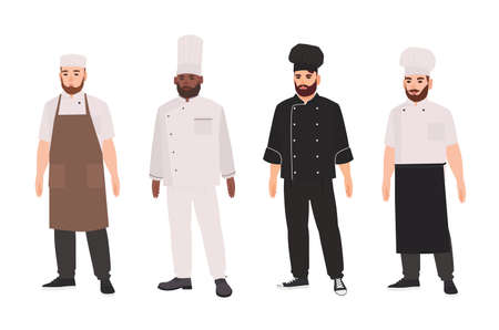 Collection of chefs, qualified cooks, professional restaurant staff or kitchen workers wearing uniform and toque. Set of male cartoon characters isolated on white background. Flat vector illustration