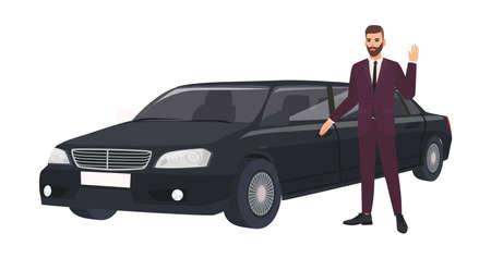 Homme riche en costume élégant debout à côté d'une limousine de luxe et agitant la main. Personne riche ou célébrité masculine et sa voiture ou automobile de luxe. Illustration vectorielle coloré dans un style cartoon plat