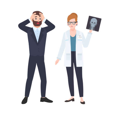 Grumpy female physician or radiologist demonstrating X-ray of skull to frightened male patient. Medical consultation and diagnostics at clinic. Colorful vector illustration in flat cartoon style Standard-Bild - 117296472